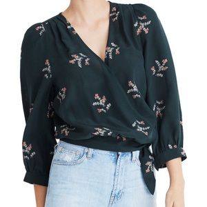 Madewell floral poppy print silk wrap top size S